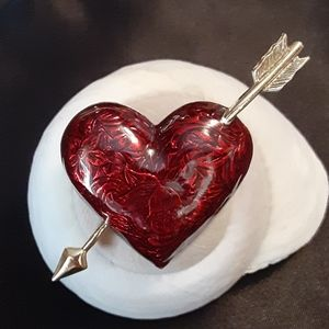 Darling Vintage Red Heart Brooch